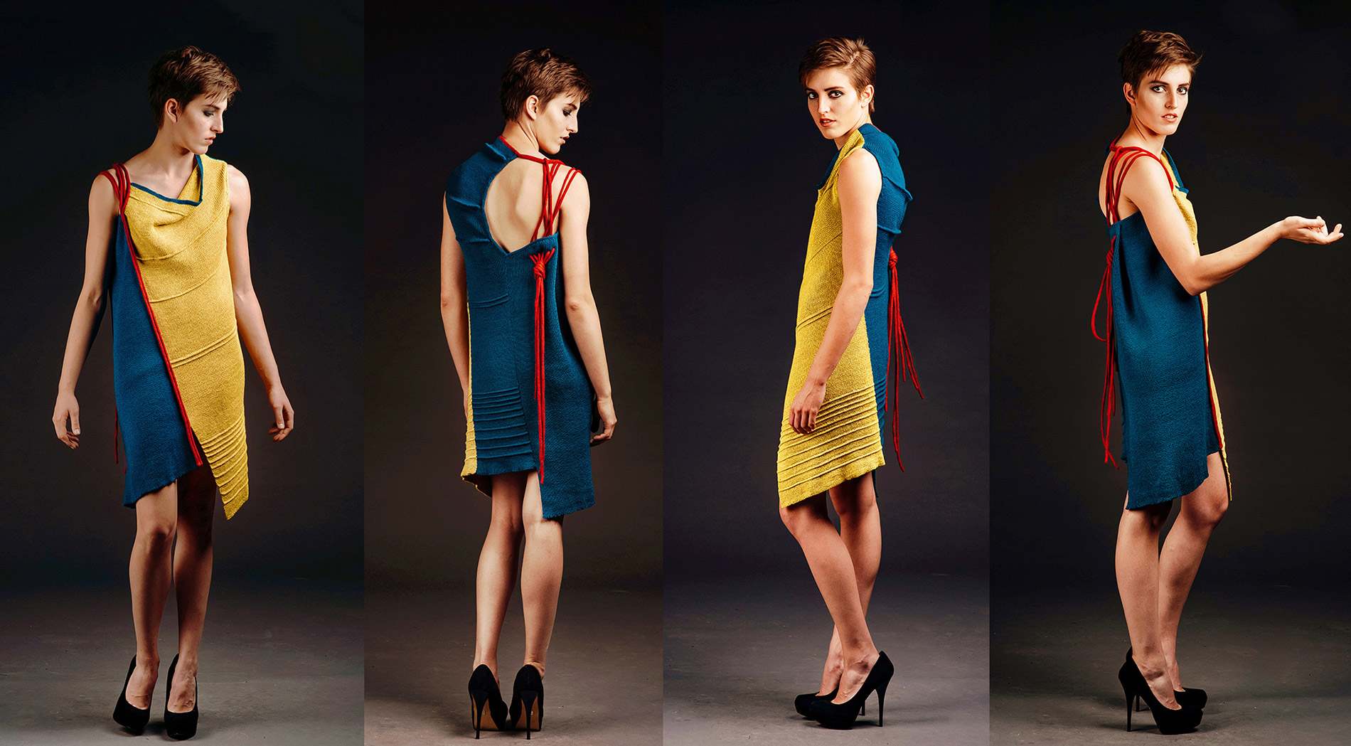 Design by Anny Chang titled Cast On Cast Off II, sleeveless knitted dress to the knee in blue, red and yellow