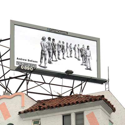Photo of billboard on a building showing people standing in line