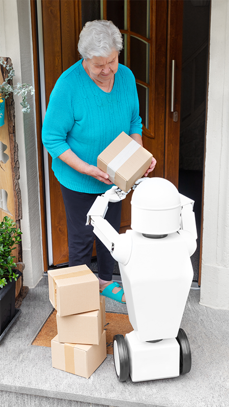 Delivery robot handing packages to a woman.