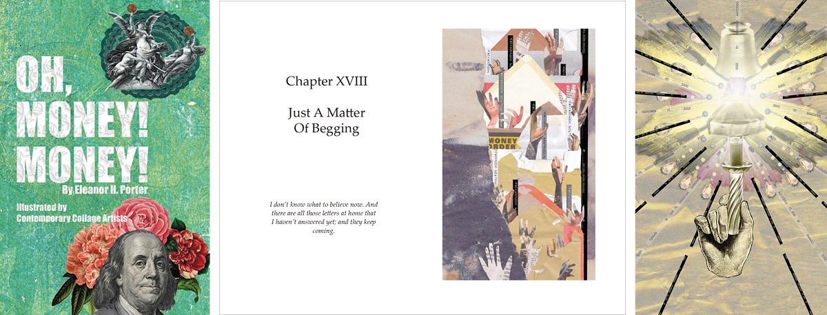 Book cover, chapter pages with hands stretched out, light held up by a hand