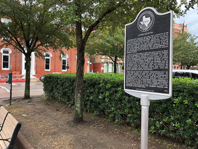 The spot where enslaved people were informed of their freedom, Galveston, Texas, metal plaque
