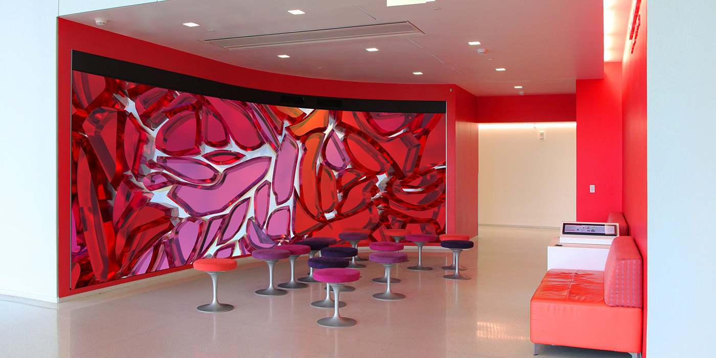 Liss LaFleur installation of colored glass in predominantly red color