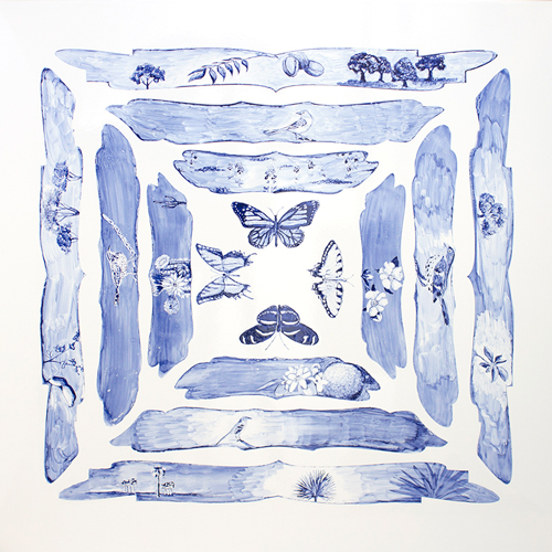 White square panel with blue painted imagery. Image is bilaterally symmetrical and from interior to exterior four graduated cartouches depict a butterfly, flowers, birds and trees.