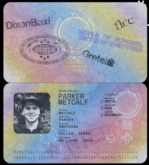 WGI rendition of a passport for Parker Metcalf