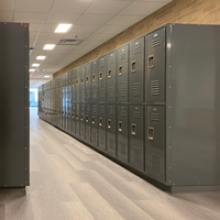 Gray lockers in the Art Building
