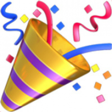 Party popper in with confetti
