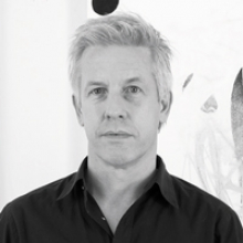Matthew Ritchie, black-and-white photo, head and shoulders