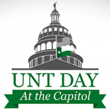 UNT Day at the Capitol written under a drawing of the capitol rotunda