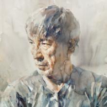 Stephen Zhang, self-portrait watercolor