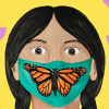 Bookcover detail of person wearing a mask with a Monarch butterfly on it