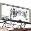 Drawing on a billboard of people standing in line