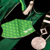 Commencement regalia, mask, medal, cap and gown