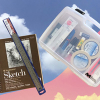 100-page sketchbook, ruler and Art Kit with supplies