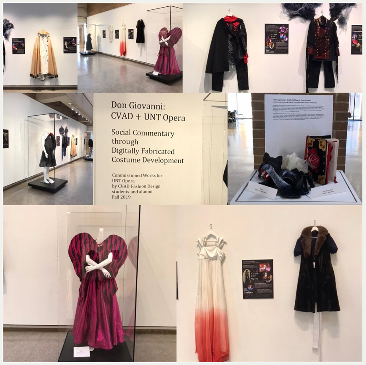 Photo collage of UNT Opera costumes on display created by the CVAD Fashion Design class