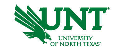 All green UNT lettermark: University of North Texas with green diving eagle