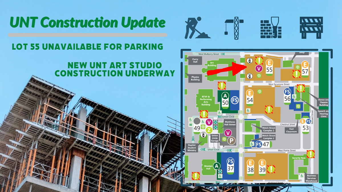 UNT Construction update for Lot 55, new ceramics and graduate studios