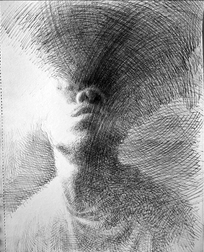 Drawing of a man throwing back his head, black and white drawing by Augustine Uzor