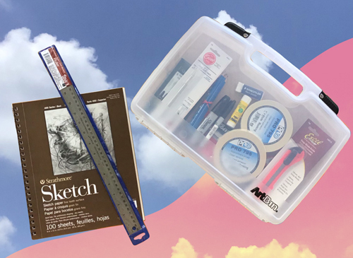 Voertman's Art Kit in a vinyl box, sketchbook and ruler